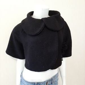 Grass Collection Black Wool Blend Cropped Jacket